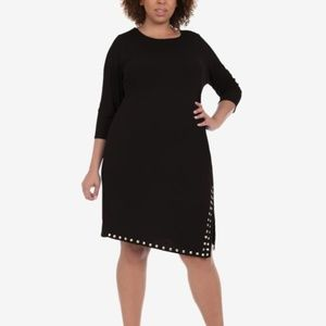 NY Collection Plus Size Studded-Hem A-Line Dress